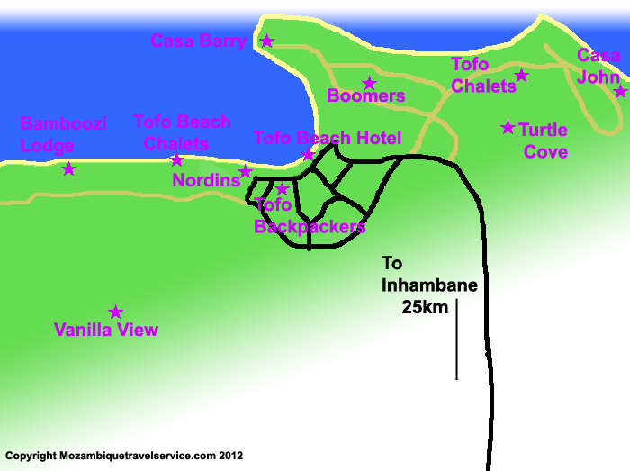 Tofo accommodation map