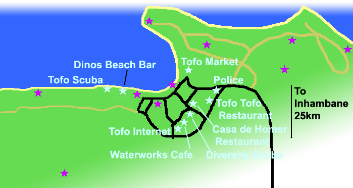Map of Tofo Mozambique